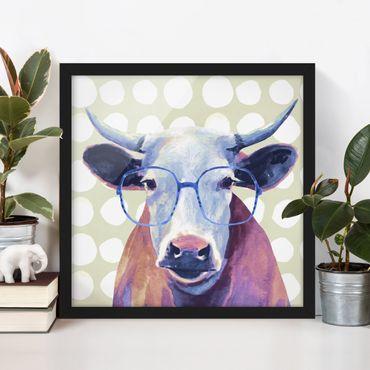 Bild mit Rahmen - Bebrillte Tiere - Kuh - Quadrat 1:1