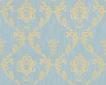 Architects Paper Unitapete Metallic Silk in Blau, Grün, Metallic