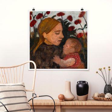 Poster - Paula Modersohn-Becker - Junge Frau mit Kind - Quadrat 1:1