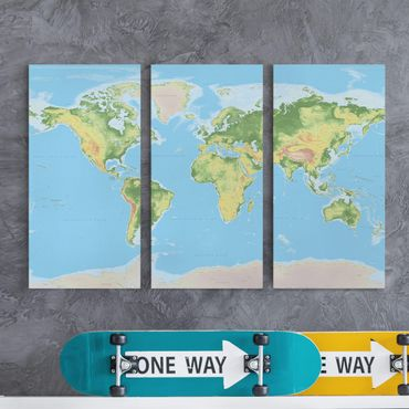 Leinwandbild 3-teilig - Physische Weltkarte - Hoch 1:2