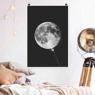 Poster - Jonas Loose - Luftballon mit Mond - Hochformat 3:2
