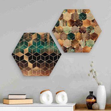 Hexagon Bild Holz 2-teilig - Elisabeth Fredriksson - Türkise Geometrie goldenes Art Deco Set