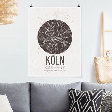 Poster - Stadtplan Köln - Retro - Hochformat 3:4