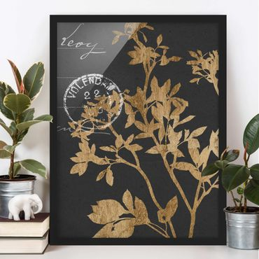 Bild mit Rahmen - Goldene Blätter auf Mokka II - Hochformat 4:3