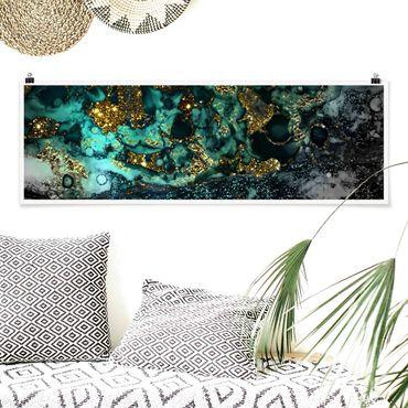 Poster - Goldene Meeres-Inseln Abstrakt - Panorama Querformat