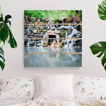 Holzbild - Wasserfall - Quadrat 1:1