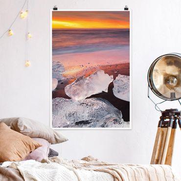 Poster - Eisbrocken bei der Gletscherlagune Jökulsárlon Island - Hochformat 3:2