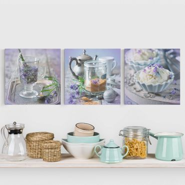 Leinwandbild 3-teilig - Lavendel Set Vintage - Quadrate 1:1