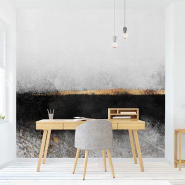 Fototapete - Abstrakter Goldener Horizont Schwarz Weiß - Fototapete Quadrat