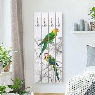 Wandgarderobe Holz - Vintage Lehrtafel Zwei Papageien Grün Rot - Haken chrom Hochformat