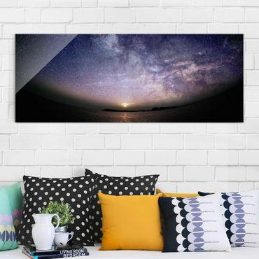 Glasbild - Sonne und Sternenhimmel am Meer - Panorama