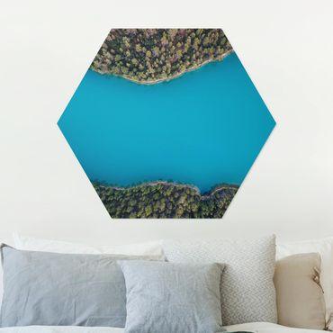 Hexagon Bild Alu-Dibond - Luftbild - Tiefblauer See