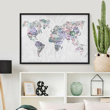 Bild mit Rahmen - Reisepass Stempel Weltkarte - Querformat 3:4