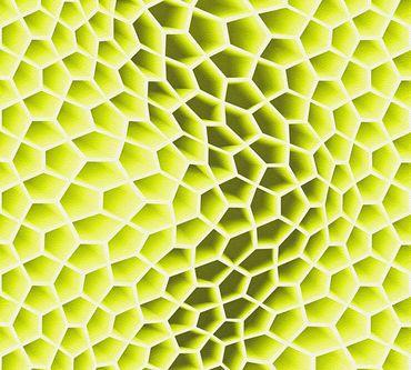 Livingwalls Mustertapete Harmony in Motion by Mac Stopa in Grün, Metallic, Weiß