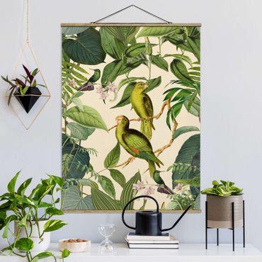 Stoffbild mit Posterleisten - Vintage Collage - Papageien im Dschungel - Hochformat 4:3