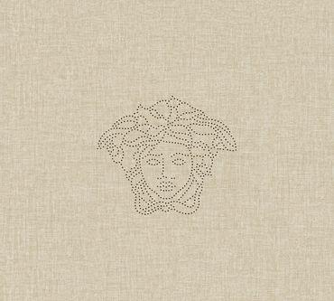 Versace wallpaper Strukturtapete Versace 3 Medusa in Creme, Metallic