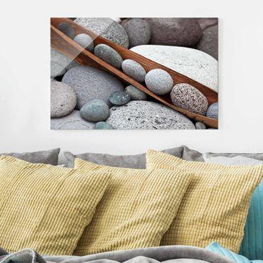 Glasbild - Stillleben mit grauen Steinen - Querformat 2:3