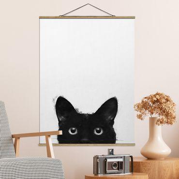 Stoffbild mit Posterleisten - Laura Graves - Illustration Schwarze Katze auf Weiß Malerei - Hochformat 4:3