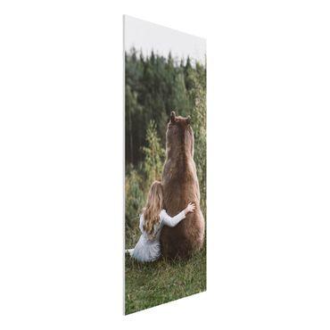 Forex Fine Art Print - Mädchen mit Braunbär - Panel