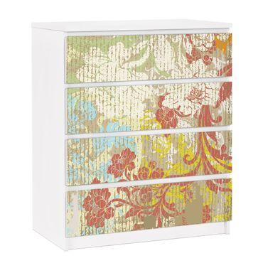 Möbelfolie für IKEA Malm Kommode - selbstklebende Folie Blüten vergangener Zeit