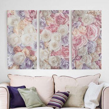 Leinwandbild 3-teilig - Pastell Paper Art Rosen - Hoch 1:2