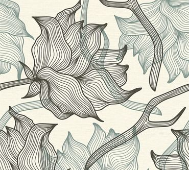 Lars Contzen Mustertapete Artist Edition No. 1 Dried Flowers in Grau, Schwarz, Weiß