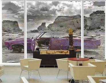 Fensterfolie - XXL Fensterbild Pink Cadillac - Fenster Sichtschutz