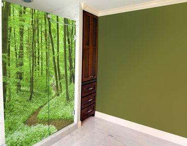 Fensterfolie - XXL Fensterbild Romantischer Waldweg - Fenster Sichtschutz