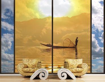 Fensterfolie - XXL Fensterbild Fischer im Sonnenaufgang - Fenster Sichtschutz