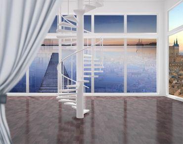 Fensterfolie - XXL Fensterbild Flusssteg bei Sonnenuntergang - Fenster Sichtschutz