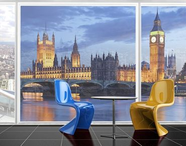 Fensterfolie - XXL Fensterbild London bei Nacht - Fenster Sichtschutz