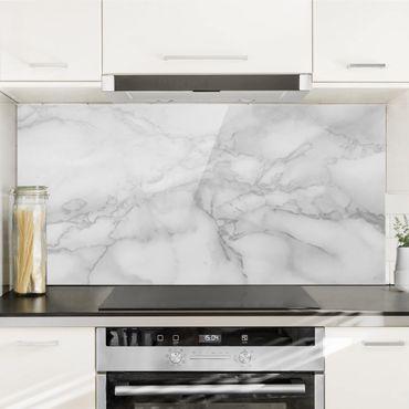 Spritzschutz Glas - Marmoroptik Schwarz Weiß - Querformat - 2:1