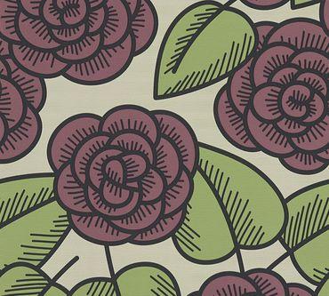 Lars Contzen Mustertapete Artist Edition No. 1 Fleur Côtiere in Grün, Rot, Schwarz