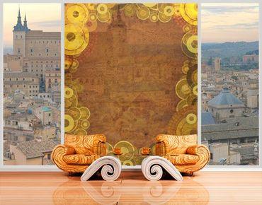 Fensterfolie - XXL Fensterbild Goldene Kreise - Fenster Sichtschutz