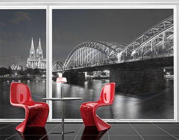 Fensterfolie - XXL Fensterbild Köln bei Nacht II - Fenster Sichtschutz