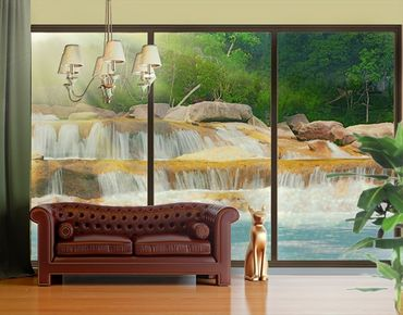 Fensterfolie - XXL Fensterbild Wasserfall Lichtung - Fenster Sichtschutz