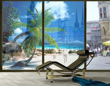 Fensterfolie - XXL Fensterbild Traumstrand - Fenster Sichtschutz
