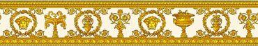 Versace wallpaper Mustertapete Versace 3 Vanitas in Gelb, Metallic, Orange
