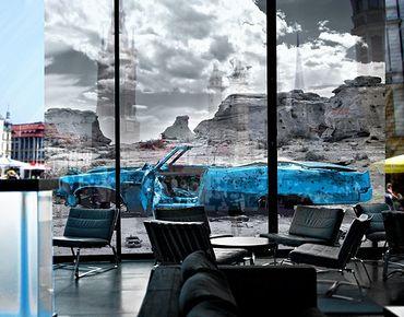 Fensterfolie - XXL Fensterbild Türkiser Cadillac - Fenster Sichtschutz