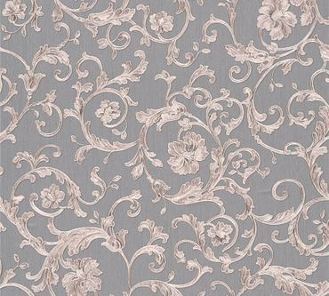 Versace wallpaper Mustertapete Versace 3 Butterfly Barocco in Grau, Metallic, Lila