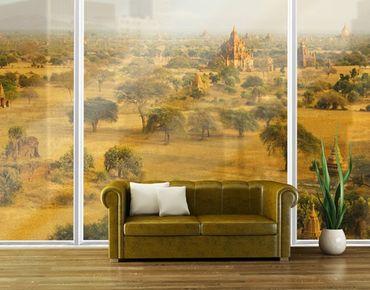 Fensterfolie - XXL Fensterbild Bagan in Myanmar - Fenster Sichtschutz