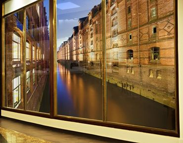 Fensterfolie - XXL Fensterbild Hamburg Speicherstadt - Fenster Sichtschutz