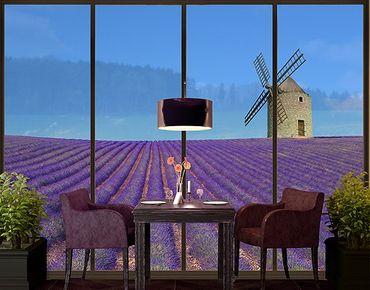 Fensterfolie - XXL Fensterbild Lavendelduft in der Provence - Fenster Sichtschutz