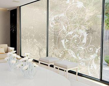 Fensterfolie - XXL Fensterbild Perlmutt Ornament Design - Fenster Sichtschutz