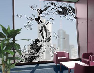Fensterfolie - XXL Fensterbild Ranke in Tusche - Fenster Sichtschutz