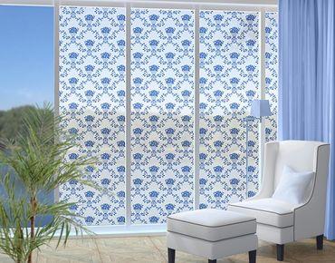 Fensterfolie - XXL Fensterbild No.RS9 Blumenkorb Blau - Fenster Sichtschutz