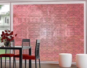 Fensterfolie - XXL Fensterbild No.TA98 Antikes Muster Pink - Fenster Sichtschutz