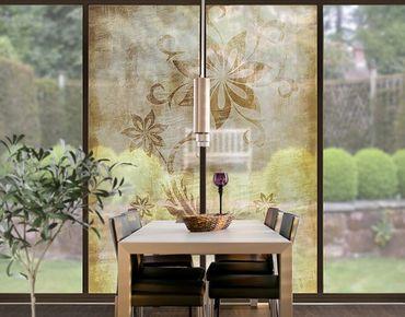 Fensterfolie - XXL Fensterbild Wooden Flower - Fenster Sichtschutz