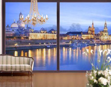 Fensterfolie - XXL Fensterbild Canaletto-Blick bei Nacht - Fenster Sichtschutz