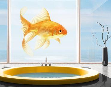 Fensterfolie - XXL Fensterbild Frau Goldfisch - Fenster Sichtschutz